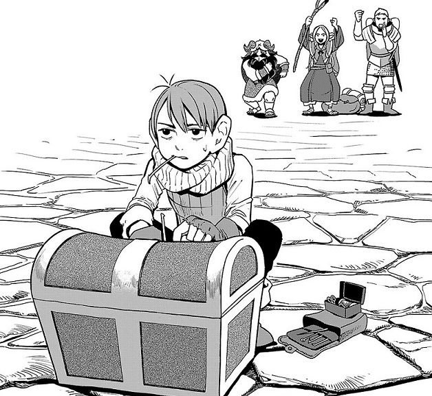 Dungeon Meshi -- Chilchuck is once again saddled with lockpicking duty while his friends provide emotional support from a safe distance.